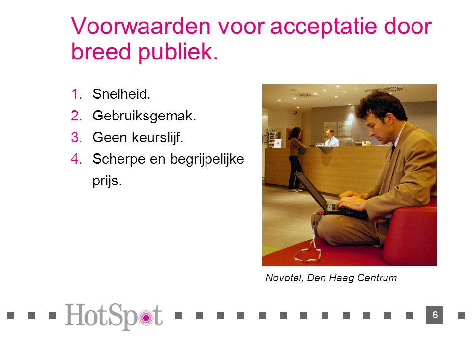 6 Voorwaarden voor acceptatie door breed publiek.  Snelheid.  Gebruiksgemak.  Geen keurslijf.  Scherpe en begrijpelijke prijs. Novotel, Den Ha