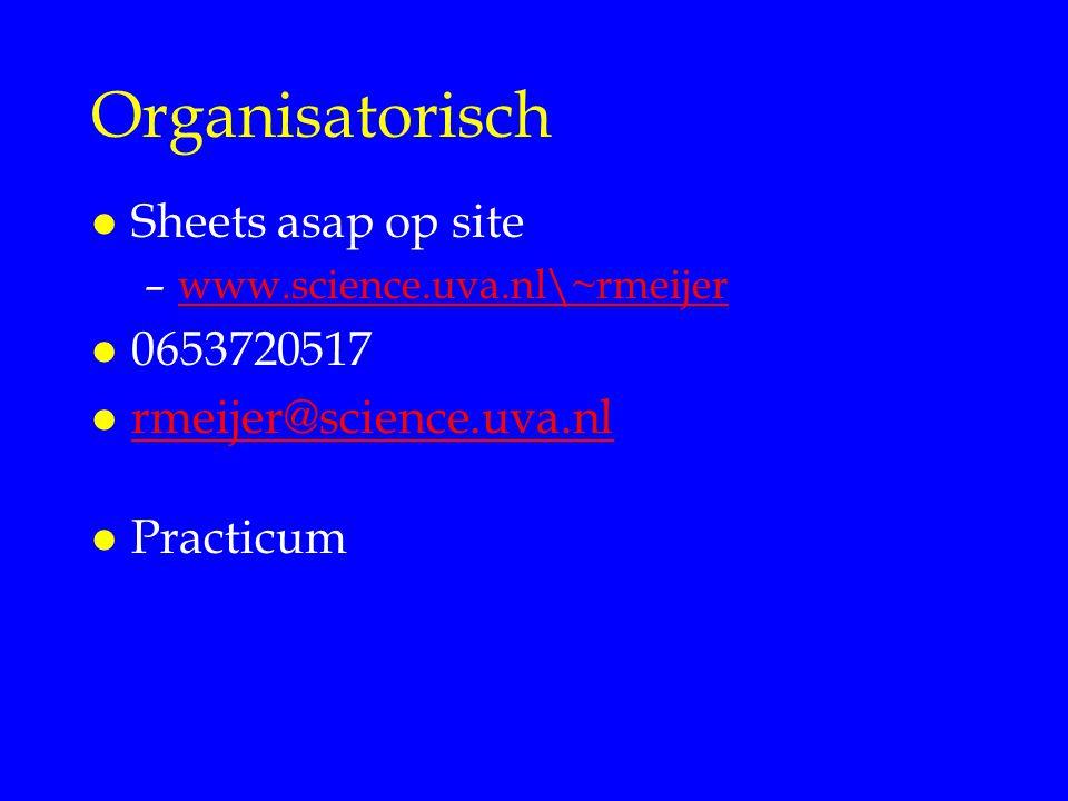 Organisatorisch l Sheets asap op site –www.science.uva.nl\~rmeijerwww.science.uva.nl\~rmeijer l 0653720517 l rmeijer@science.uva.nl rmeijer@science.uva.nl l Practicum