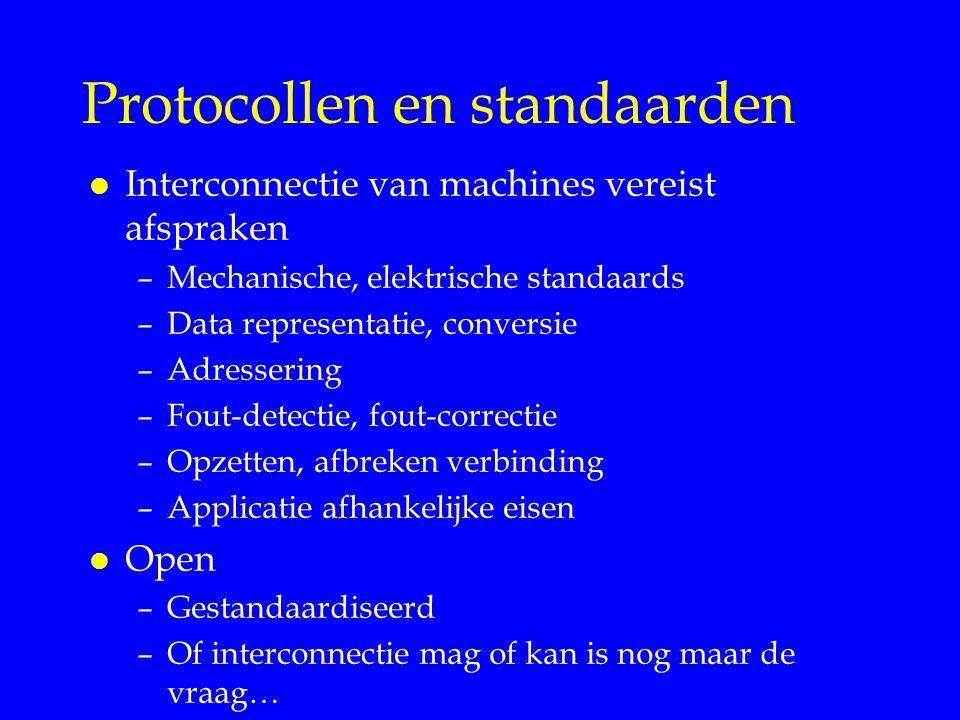 Protocollen en standaarden l Interconnectie van machines vereist afspraken –Mechanische, elektrische standaards –Data representatie, conversie –Adress