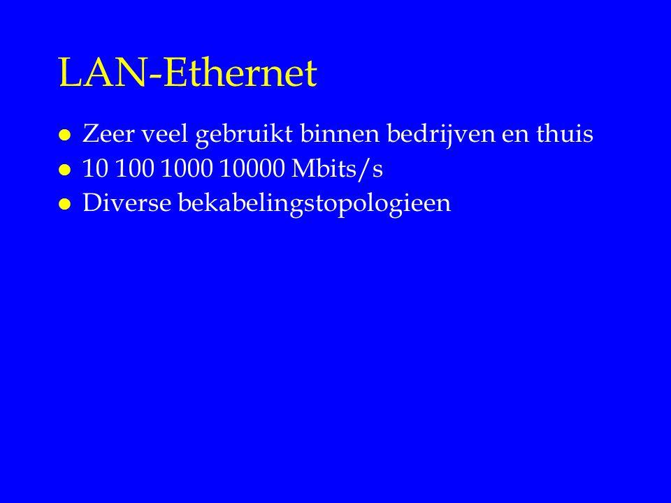 LAN-Ethernet l Zeer veel gebruikt binnen bedrijven en thuis l 10 100 1000 10000 Mbits/s l Diverse bekabelingstopologieen