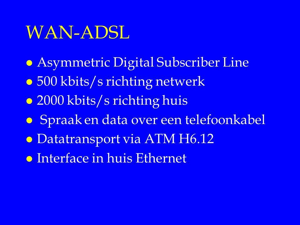 WAN-ADSL l Asymmetric Digital Subscriber Line l 500 kbits/s richting netwerk l 2000 kbits/s richting huis l Spraak en data over een telefoonkabel l Da
