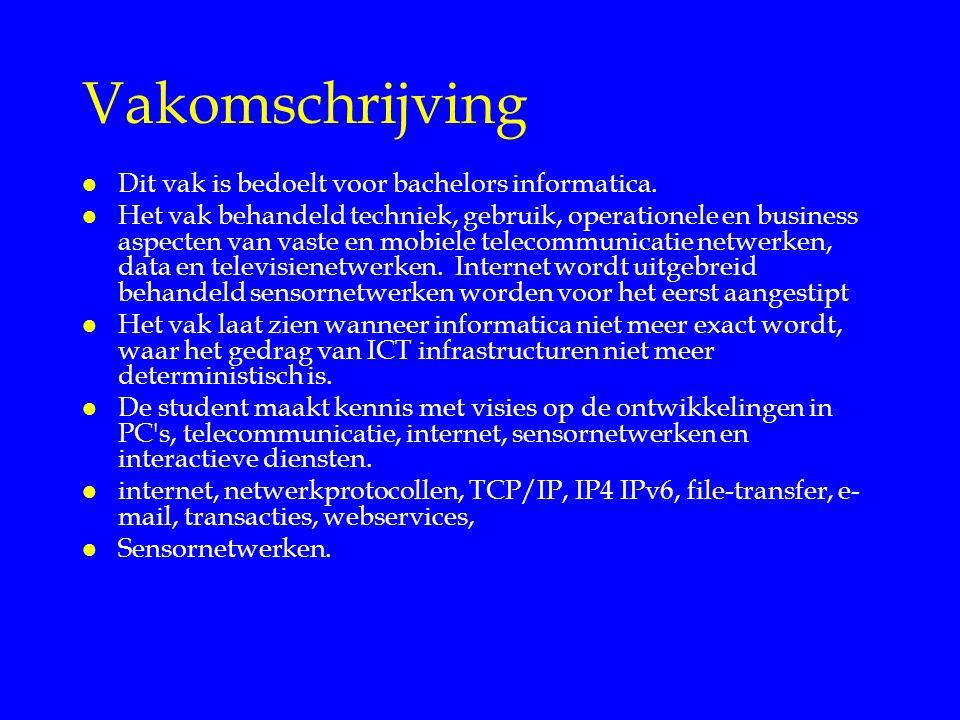 Vakomschrijving l Dit vak is bedoelt voor bachelors informatica. l Het vak behandeld techniek, gebruik, operationele en business aspecten van vaste en