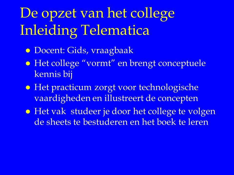 De opzet van het college Inleiding Telematica l Docent: Gids, vraagbaak l Het college vormt en brengt conceptuele kennis bij l Het practicum zorgt voor technologische vaardigheden en illustreert de concepten l Het vak studeer je door het college te volgen de sheets te bestuderen en het boek te leren