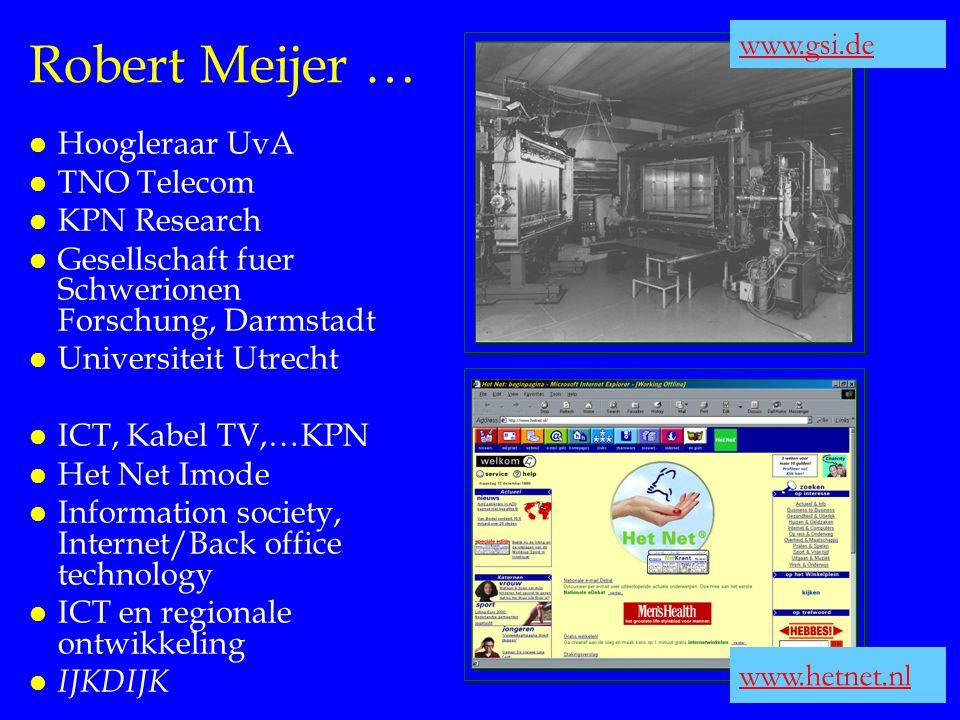 Robert Meijer … l Hoogleraar UvA l TNO Telecom l KPN Research l Gesellschaft fuer Schwerionen Forschung, Darmstadt l Universiteit Utrecht l ICT, Kabel
