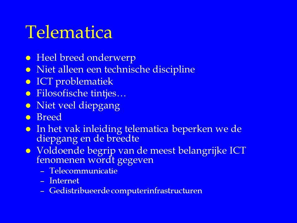 Telematica l Heel breed onderwerp l Niet alleen een technische discipline l ICT problematiek l Filosofische tintjes… l Niet veel diepgang l Breed l In het vak inleiding telematica beperken we de diepgang en de breedte l Voldoende begrip van de meest belangrijke ICT fenomenen wordt gegeven –Telecommunicatie –Internet –Gedistribueerde computerinfrastructuren