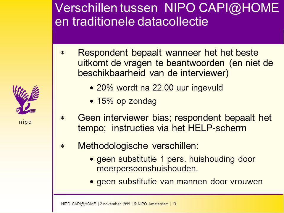 NIPO CAPI@HOME | 2 november 1999 | © NIPO Amsterdam | 13 n i p on i p o Verschillen tussen NIPO CAPI@HOME en traditionele datacollectie  Respondent b