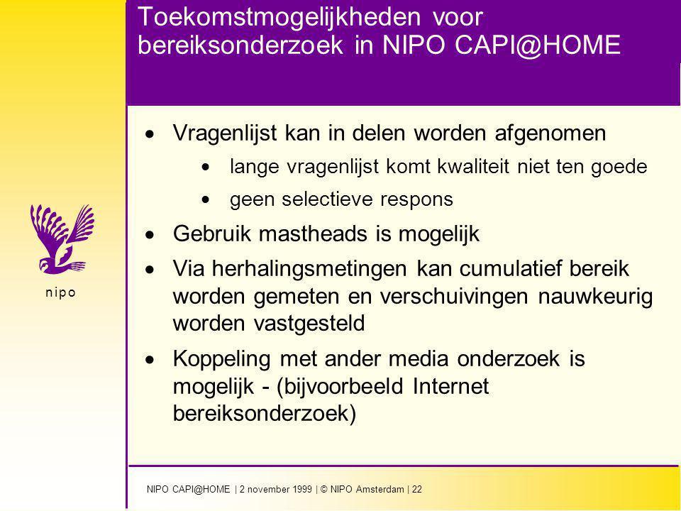 NIPO CAPI@HOME | 2 november 1999 | © NIPO Amsterdam | 22 n i p on i p o Toekomstmogelijkheden voor bereiksonderzoek in NIPO CAPI@HOME  Vragenlijst ka