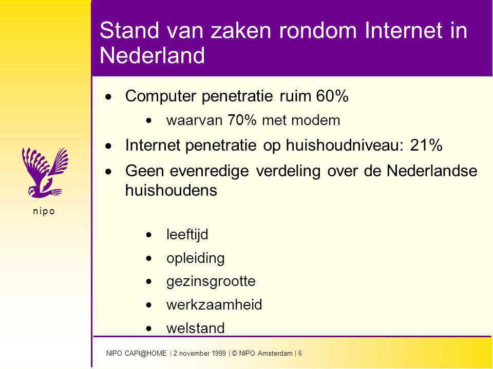 NIPO CAPI@HOME | 2 november 1999 | © NIPO Amsterdam | 6 n i p on i p o Stand van zaken rondom Internet in Nederland  Computer penetratie ruim 60%  w