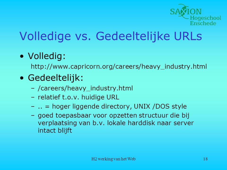 H2 werking van het Web18 Volledige vs.