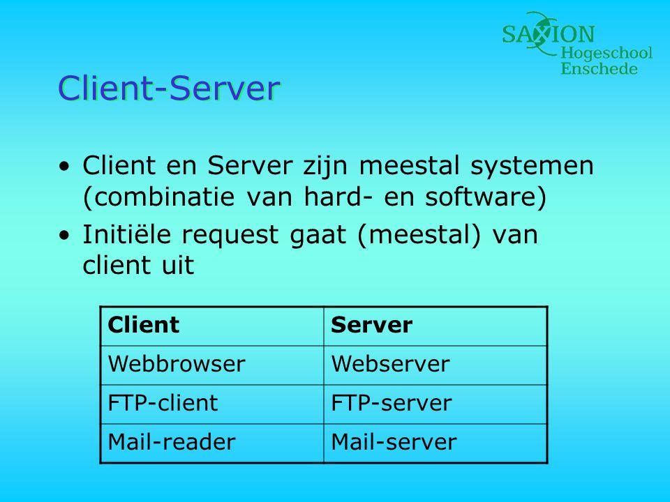 Client-Server •Client en Server zijn meestal systemen (combinatie van hard- en software) •Initiële request gaat (meestal) van client uit ClientServer WebbrowserWebserver FTP-clientFTP-server Mail-readerMail-server