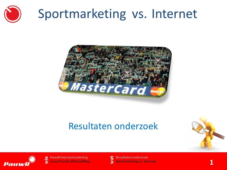 Aanleiding onderzoek 2 www.PauwR.nl Resultaten onderzoek Sportmarketing vs.