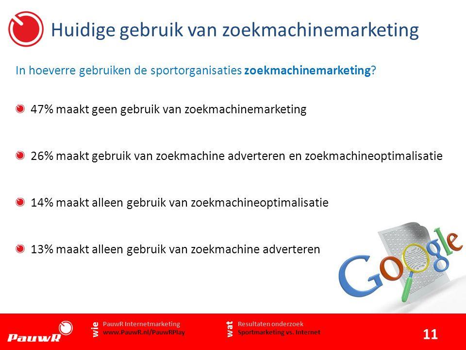 Huidige gebruik van zoekmachinemarketing In hoeverre gebruiken de sportorganisaties zoekmachinemarketing.