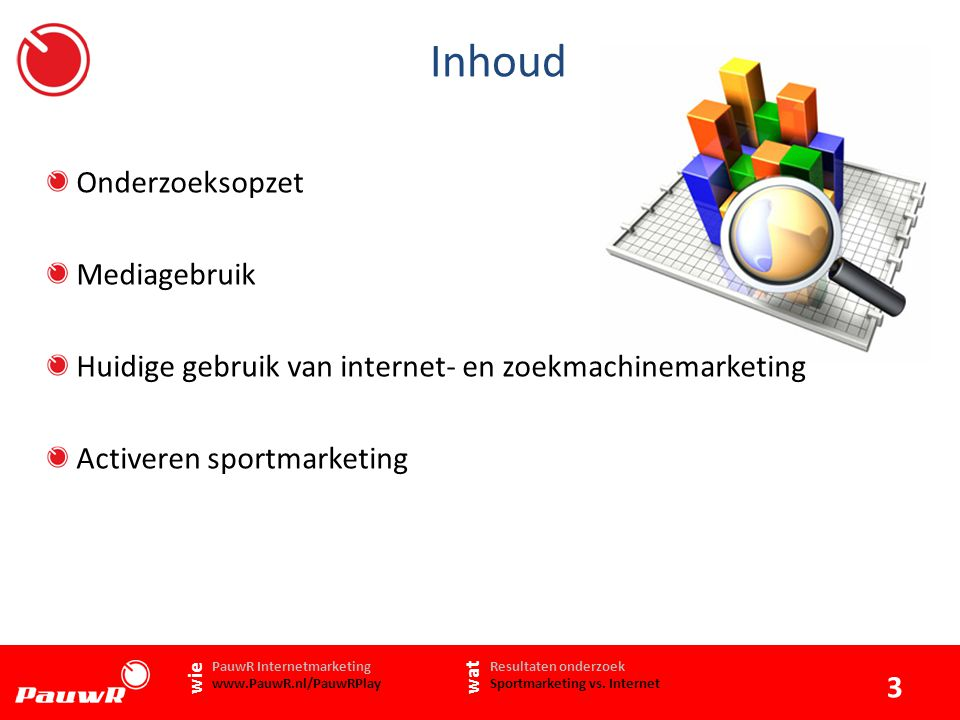 Inhoud Onderzoeksopzet Mediagebruik Huidige gebruik van internet- en zoekmachinemarketing Activeren sportmarketing 3   Resultaten onderzoek Sportmarketing vs.