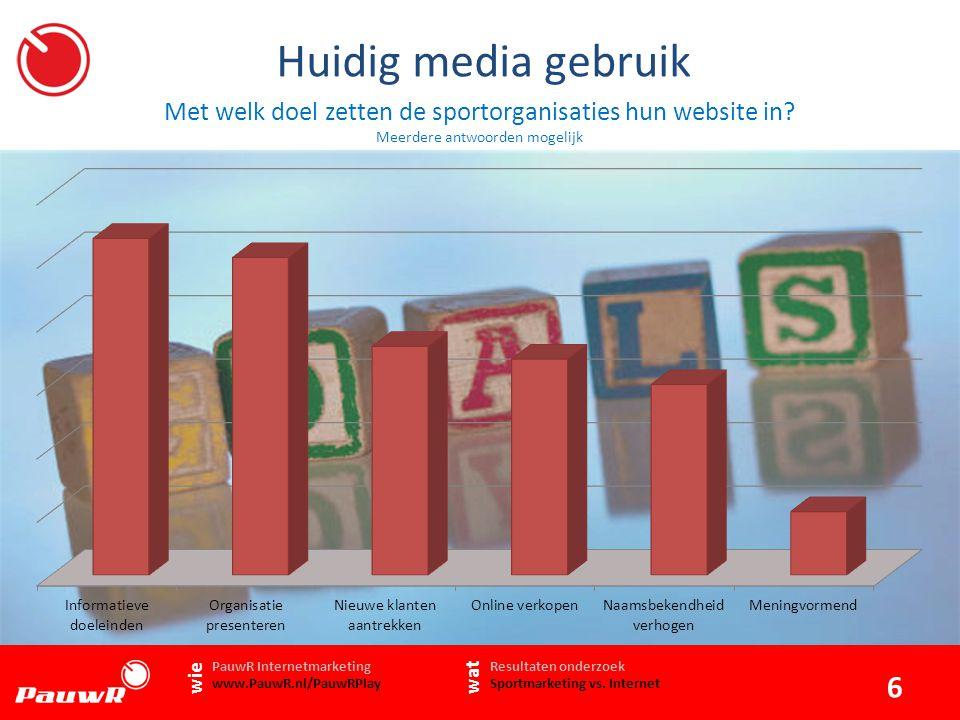 Huidig media gebruik Met welk doel zetten de sportorganisaties hun website in.