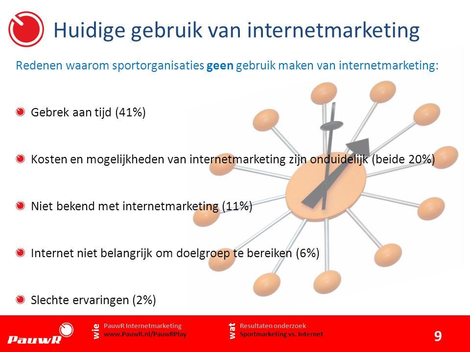 Huidige gebruik van internetmarketing 9 www.PauwR.nl Gebrek aan tijd (41%) Kosten en mogelijkheden van internetmarketing zijn onduidelijk (beide 20%) Niet bekend met internetmarketing (11%) Internet niet belangrijk om doelgroep te bereiken (6%) Slechte ervaringen (2%) Resultaten onderzoek Sportmarketing vs.