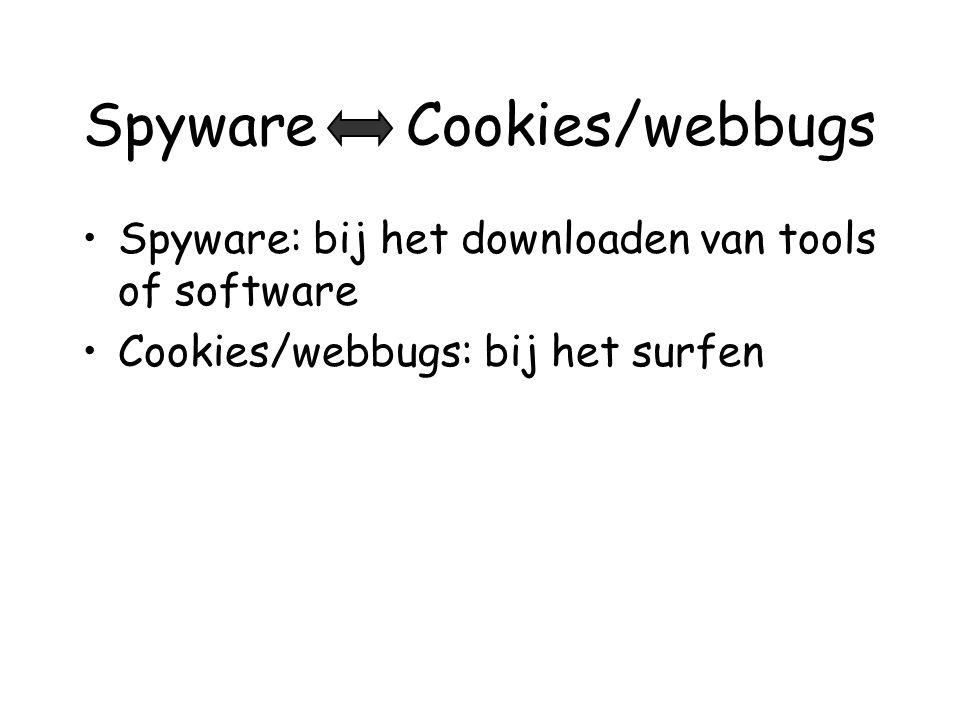 Spyware Cookies/webbugs •Spyware: bij het downloaden van tools of software •Cookies/webbugs: bij het surfen