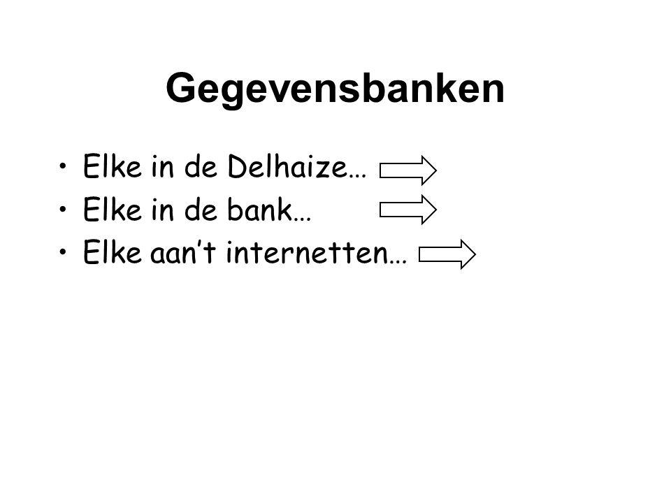 Gegevensbanken •Elke in de Delhaize… •Elke in de bank… •Elke aan't internetten…