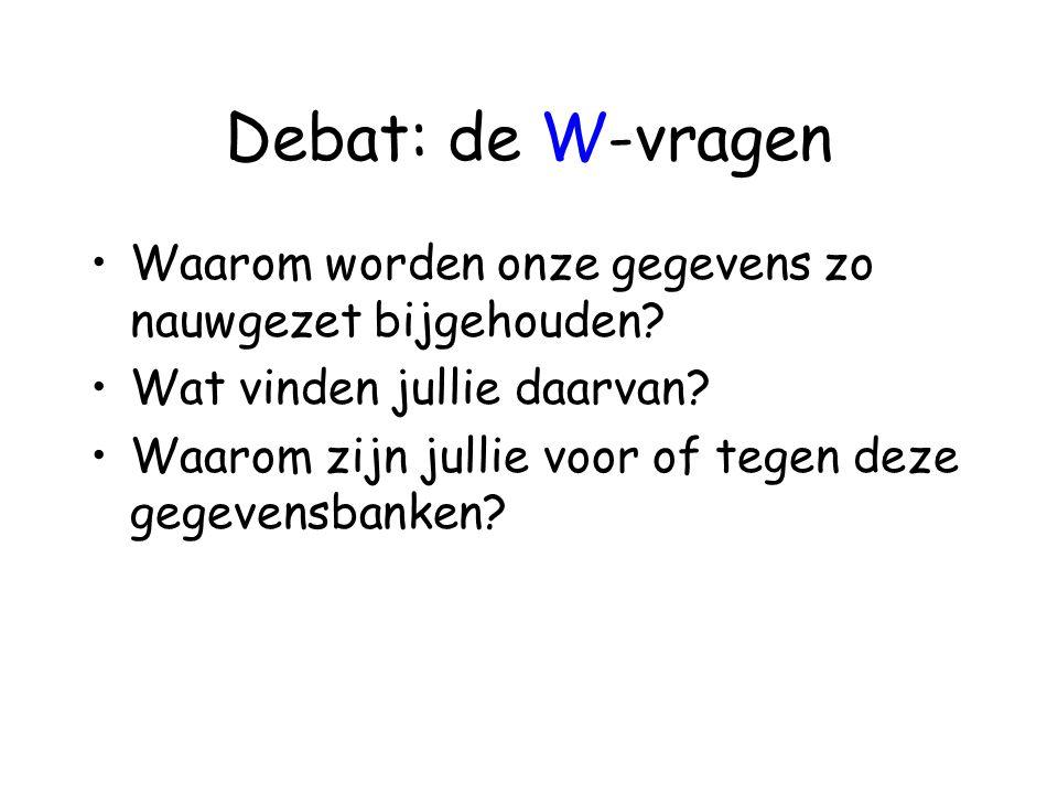 Debat: de W-vragen •Waarom worden onze gegevens zo nauwgezet bijgehouden? •Wat vinden jullie daarvan? •Waarom zijn jullie voor of tegen deze gegevensb