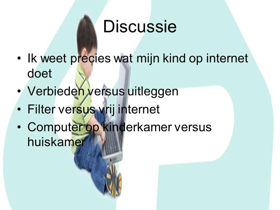 Discussie Ik weet precies wat mijn kind op internet doet Verbieden versus uitleggen Filter versus vrij internet Computer op kinderkamer versus huiskamer