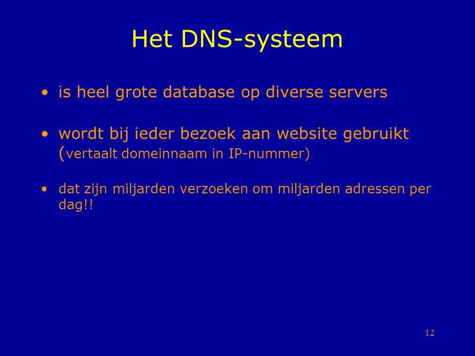 12 Het DNS-systeem is heel grote database op diverse servers wordt bij ieder bezoek aan website gebruikt ( vertaalt domeinnaam in IP-nummer) dat zijn