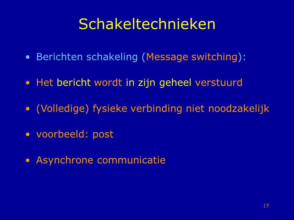 15 Schakeltechnieken Berichten schakeling (Message switching): Het bericht wordt in zijn geheel verstuurd (Volledige) fysieke verbinding niet noodzake