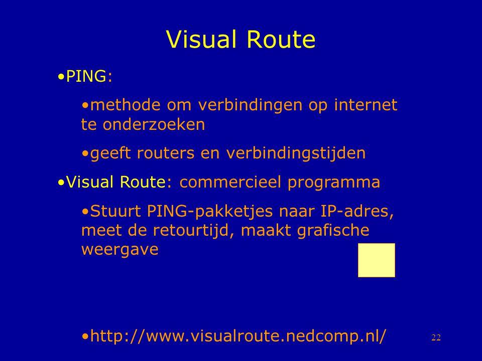 22 Visual Route PING: methode om verbindingen op internet te onderzoeken geeft routers en verbindingstijden Visual Route: commercieel programma Stuurt