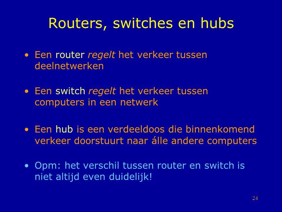 24 Routers, switches en hubs Een router regelt het verkeer tussen deelnetwerken Een switch regelt het verkeer tussen computers in een netwerk Een hub