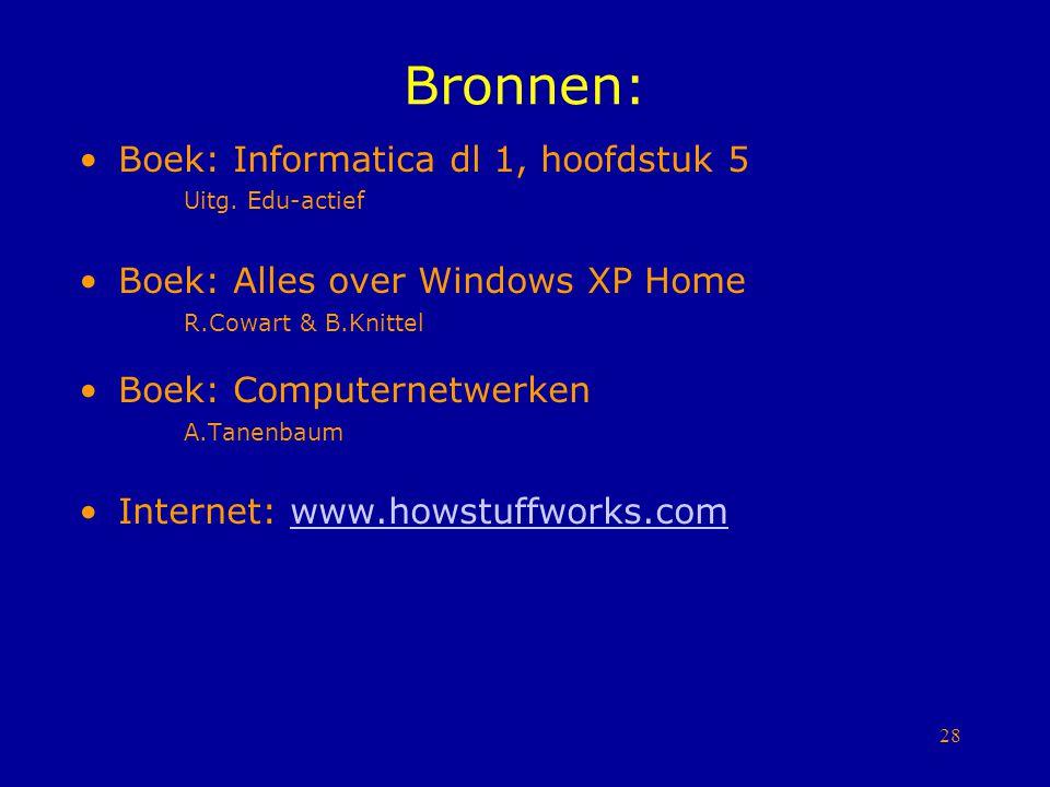 28 Bronnen: Boek: Informatica dl 1, hoofdstuk 5 Uitg. Edu-actief Boek: Alles over Windows XP Home R.Cowart & B.Knittel Boek: Computernetwerken A.Tanen