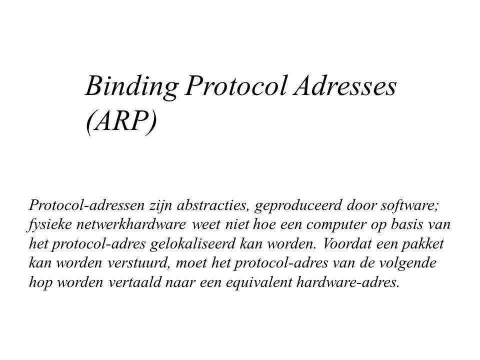 Protocol-adressen zijn abstracties, geproduceerd door software; fysieke netwerkhardware weet niet hoe een computer op basis van het protocol-adres gelokaliseerd kan worden.