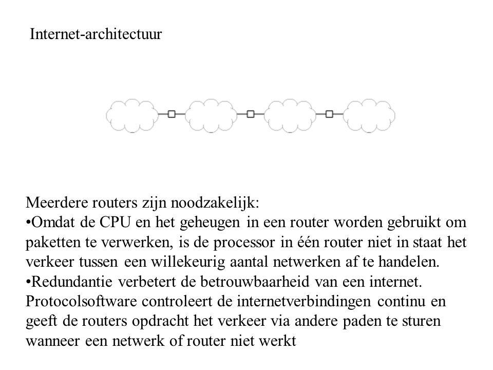 Internet-architectuur Meerdere routers zijn noodzakelijk: Omdat de CPU en het geheugen in een router worden gebruikt om paketten te verwerken, is de processor in één router niet in staat het verkeer tussen een willekeurig aantal netwerken af te handelen.