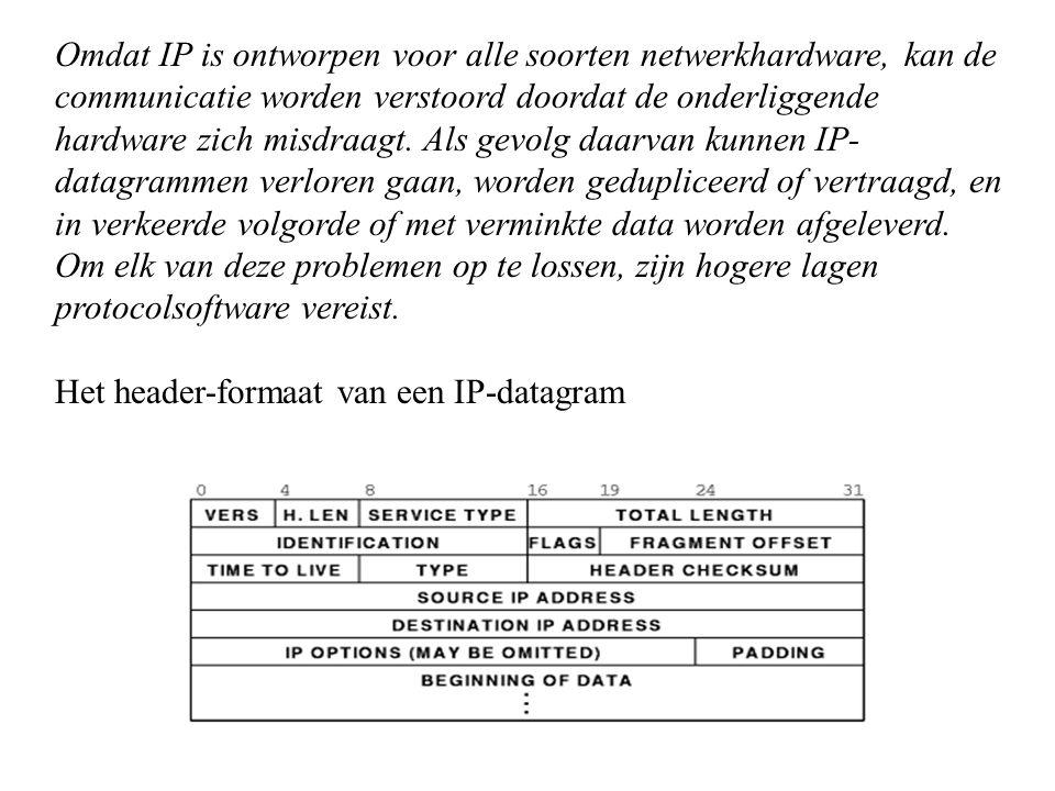 Omdat IP is ontworpen voor alle soorten netwerkhardware, kan de communicatie worden verstoord doordat de onderliggende hardware zich misdraagt. Als ge
