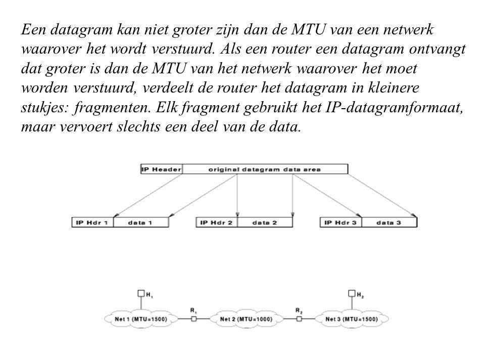 Een datagram kan niet groter zijn dan de MTU van een netwerk waarover het wordt verstuurd.