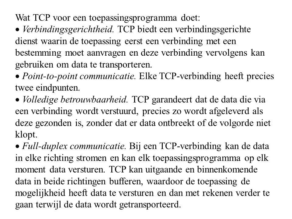 Wat TCP voor een toepassingsprogramma doet:  Verbindingsgerichtheid. TCP biedt een verbindingsgerichte dienst waarin de toepassing eerst een verbindi