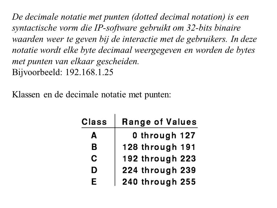 De decimale notatie met punten (dotted decimal notation) is een syntactische vorm die IP-software gebruikt om 32-bits binaire waarden weer te geven bij de interactie met de gebruikers.