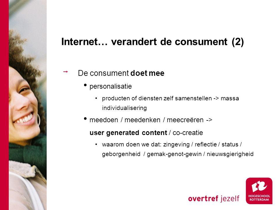 Internet… verandert de consument (2) De consument doet mee personalisatie producten of diensten zelf samenstellen -> massa individualisering meedoen /