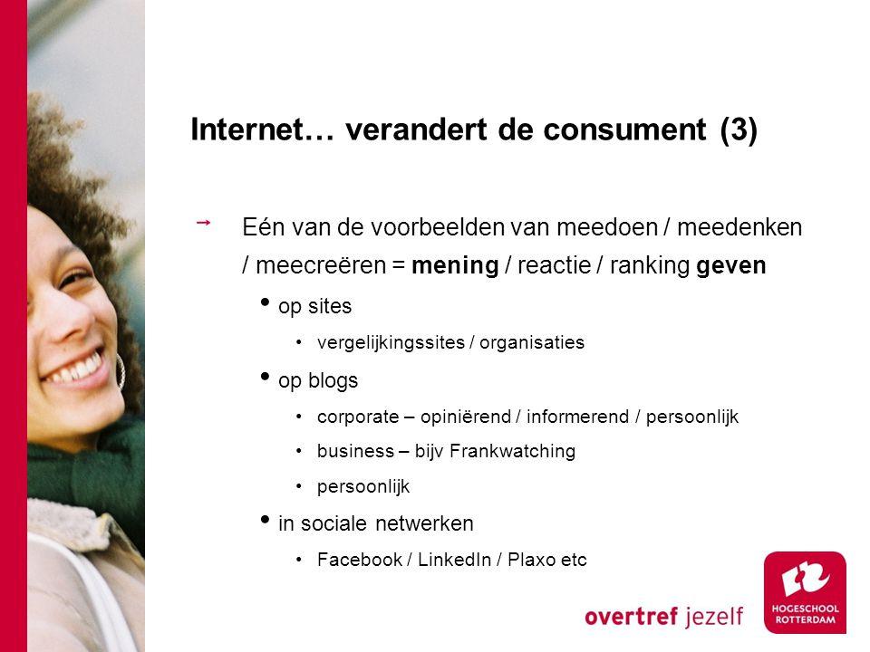 Internet… verandert de consument (3) Eén van de voorbeelden van meedoen / meedenken / meecreëren = mening / reactie / ranking geven op sites vergelijk