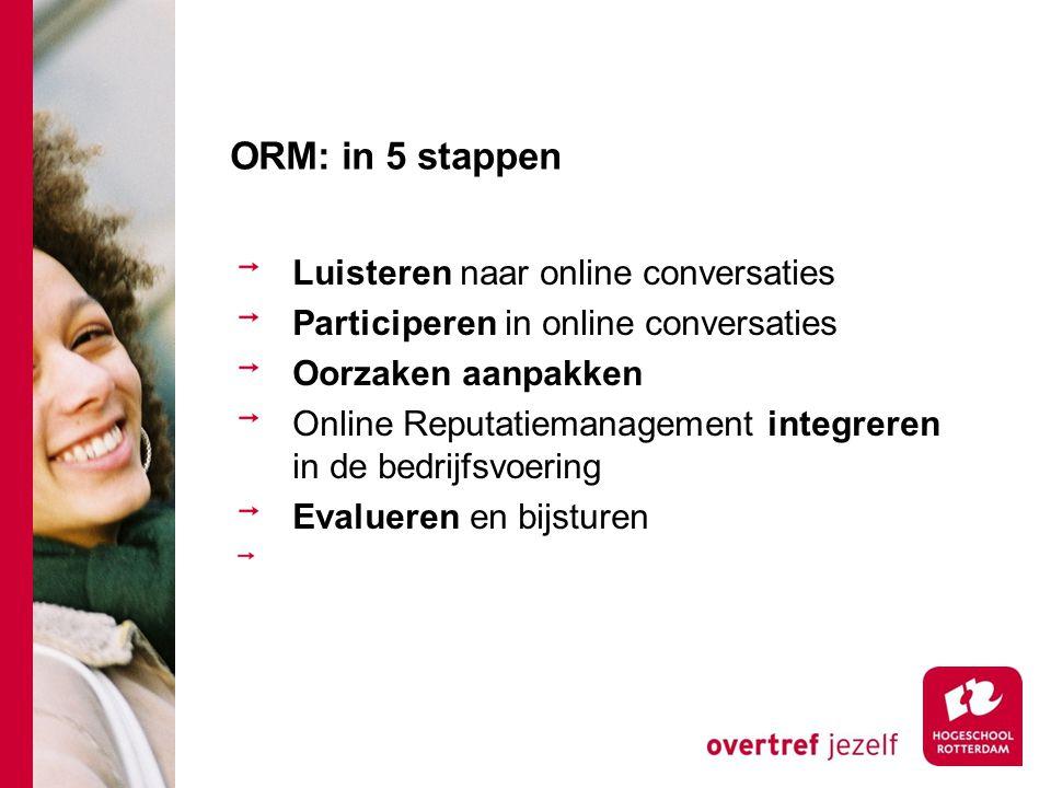 ORM: in 5 stappen Luisteren naar online conversaties Participeren in online conversaties Oorzaken aanpakken Online Reputatiemanagement integreren in d