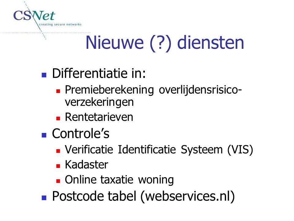 Nieuwe (?) diensten Differentiatie in: Premieberekening overlijdensrisico- verzekeringen Rentetarieven Controle's Verificatie Identificatie Systeem (V