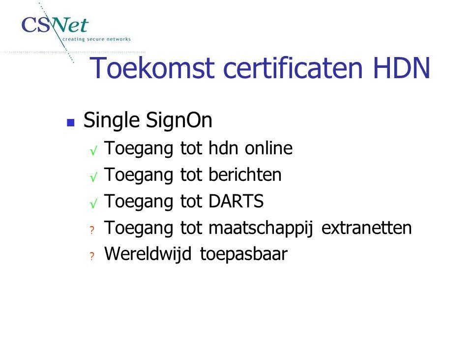 Toekomst certificaten HDN Single SignOn √ Toegang tot hdn online √ Toegang tot berichten √ Toegang tot DARTS ? Toegang tot maatschappij extranetten ?