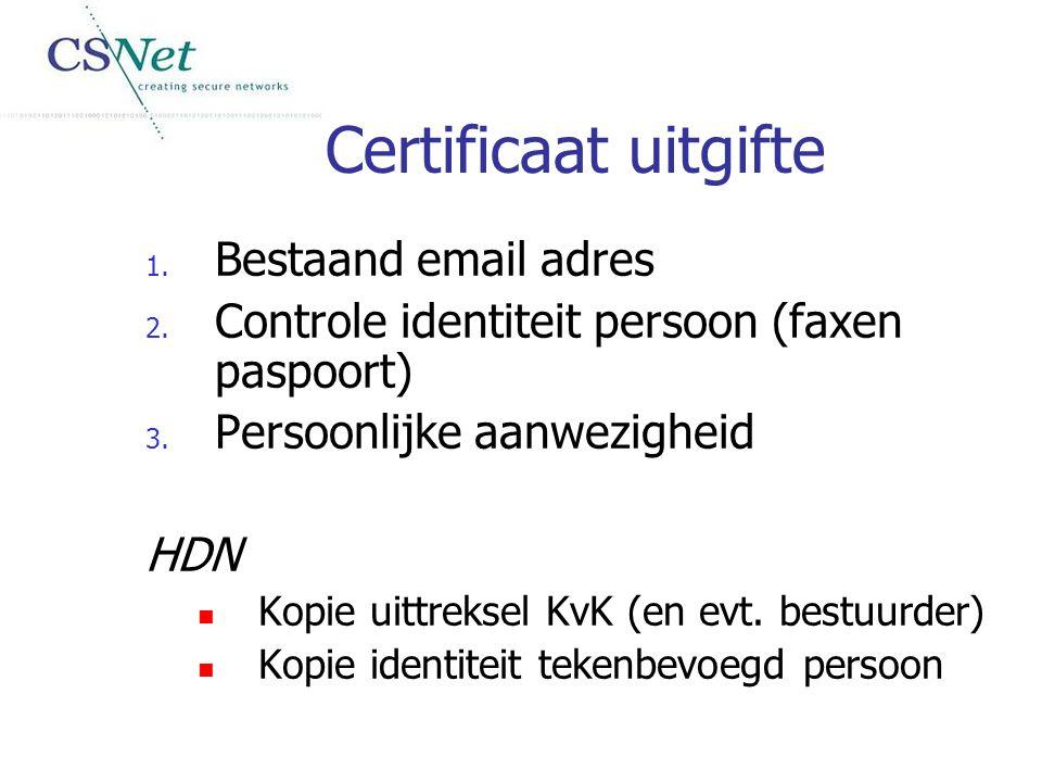 Certificaat uitgifte 1. Bestaand email adres 2. Controle identiteit persoon (faxen paspoort) 3. Persoonlijke aanwezigheid HDN Kopie uittreksel KvK (en