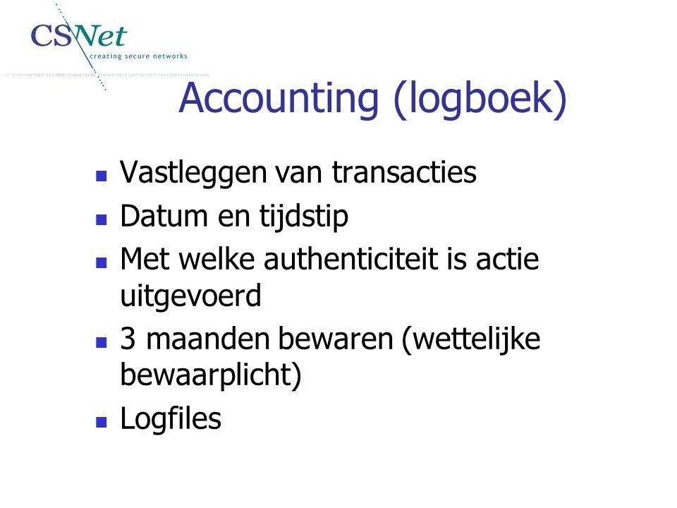 Accounting (logboek) Vastleggen van transacties Datum en tijdstip Met welke authenticiteit is actie uitgevoerd 3 maanden bewaren (wettelijke bewaarpli