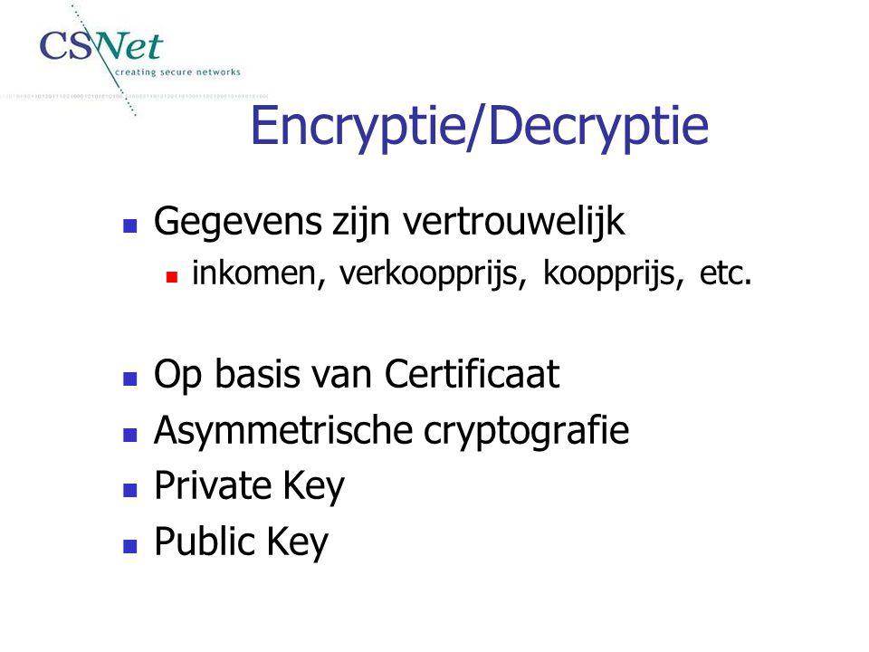 Encryptie/Decryptie Gegevens zijn vertrouwelijk inkomen, verkoopprijs, koopprijs, etc. Op basis van Certificaat Asymmetrische cryptografie Private Key