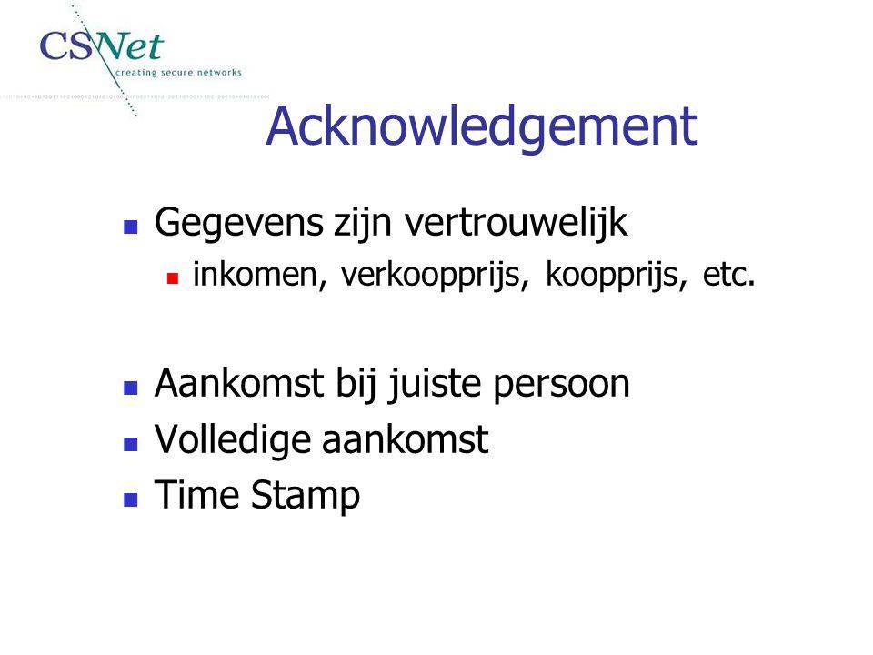 Acknowledgement Gegevens zijn vertrouwelijk inkomen, verkoopprijs, koopprijs, etc. Aankomst bij juiste persoon Volledige aankomst Time Stamp