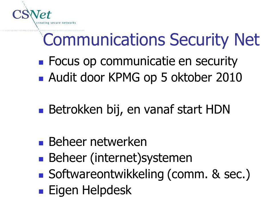 Communications Security Net Focus op communicatie en security Audit door KPMG op 5 oktober 2010 Betrokken bij, en vanaf start HDN Beheer netwerken Beh