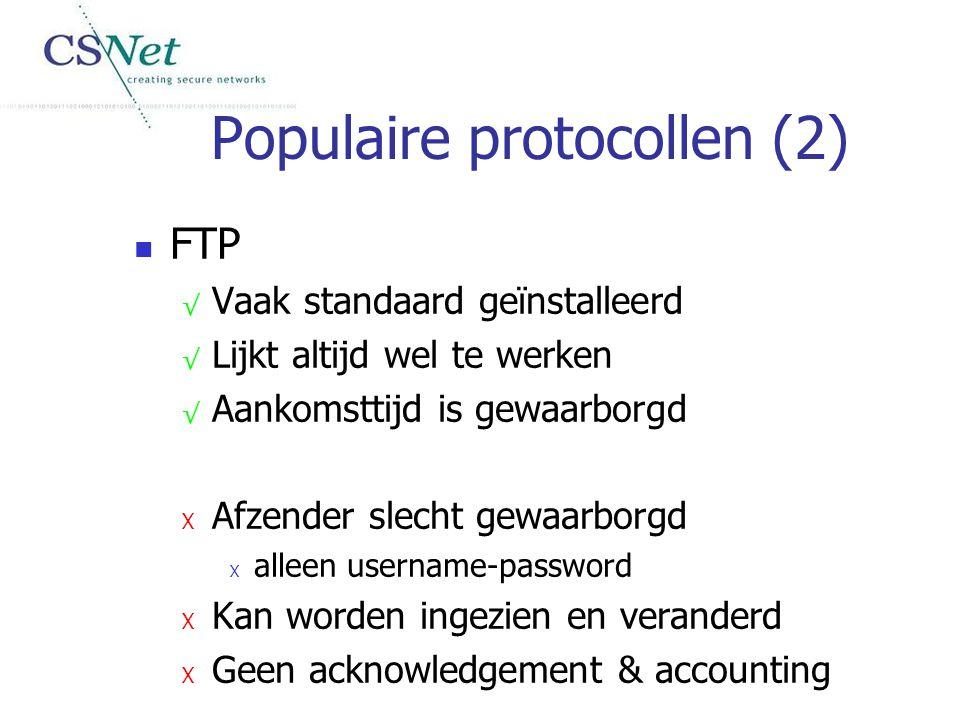 Populaire protocollen (2) FTP √ Vaak standaard geïnstalleerd √ Lijkt altijd wel te werken √ Aankomsttijd is gewaarborgd X Afzender slecht gewaarborgd