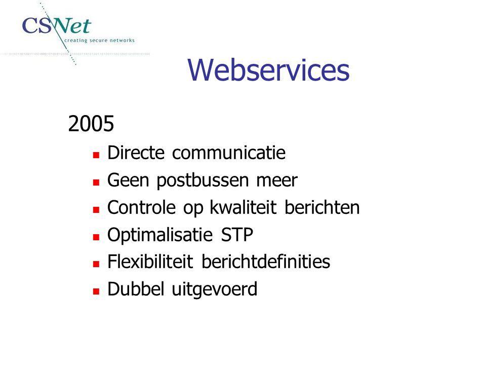 Webservices 2005 Directe communicatie Geen postbussen meer Controle op kwaliteit berichten Optimalisatie STP Flexibiliteit berichtdefinities Dubbel ui