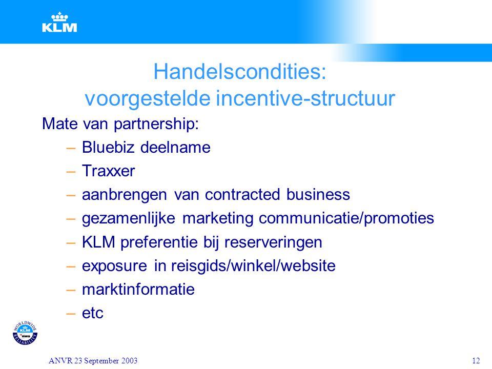 ANVR 23 September 200312 Handelscondities: voorgestelde incentive-structuur Mate van partnership: –Bluebiz deelname –Traxxer –aanbrengen van contracte
