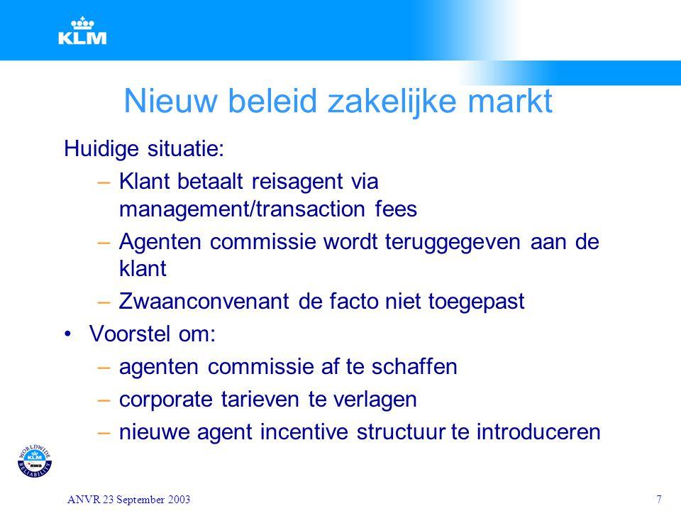 ANVR 23 September 20037 Nieuw beleid zakelijke markt Huidige situatie: –Klant betaalt reisagent via management/transaction fees –Agenten commissie wor