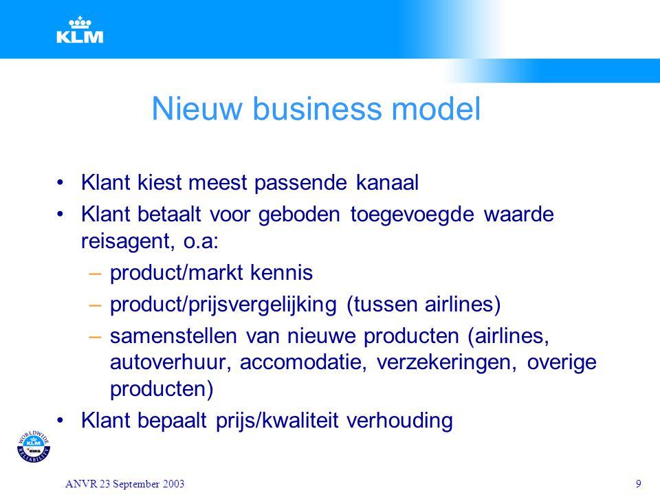 ANVR 23 September 20039 Nieuw business model Klant kiest meest passende kanaal Klant betaalt voor geboden toegevoegde waarde reisagent, o.a: –product/
