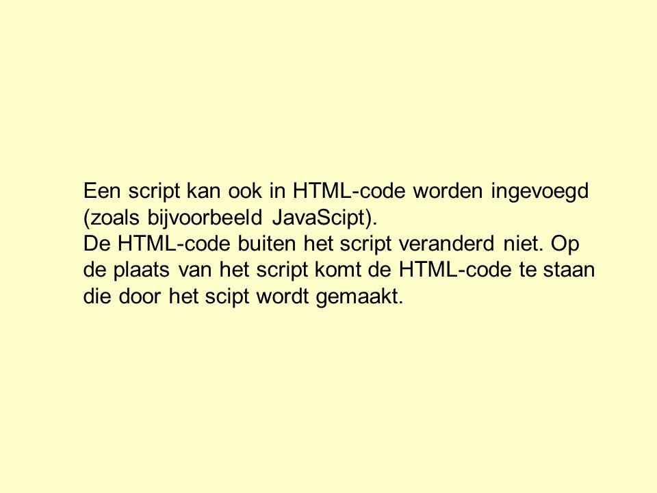 Een script kan ook in HTML-code worden ingevoegd (zoals bijvoorbeeld JavaScipt). De HTML-code buiten het script veranderd niet. Op de plaats van het s